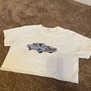 Brandy Melville White Car Tshirt